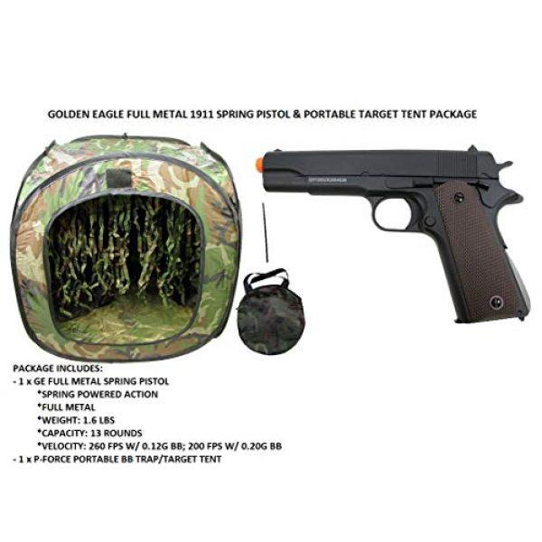 GE / JG Airsoft Pistol 2 GE / JG Full Metal 1911 Spring Powered Airsoft Pistol with Portable Airsoft BB Trap Target Tent Package (Black)