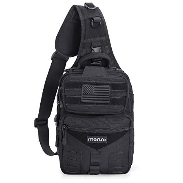 MOSISO Tactical Backpack 6 MOSISO Tactical Backpack, One Shoulder Slingbag Military Army Assault Molle Rucksack Everyday Carrying Daypack with USA Flag Patch for Outdoor Sports Hiking Hunting Fishing Camping Training, Black