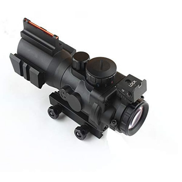 HONESTILL Rifle Scope 3 HONESTILL 4x32 Tactical Rifle Scope Red Dot Sight 20mm Dovetail Reflex Optics Scope with Fiber Optic Sight