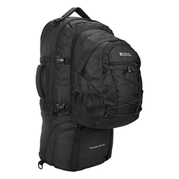Mountain Warehouse Tactical Backpack 4 Mountain Warehouse Traveller 60 + 20L Travel Backpack - for Camping, Outdoor Rucksack with Detachable Daypack Black Women's Fit