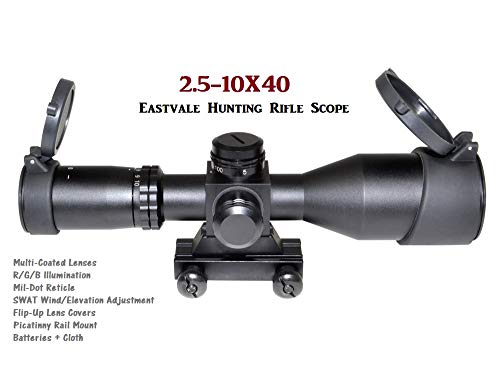 Eastvale Rifle Scope 2 Eastvale 2.5-10X40 Compact Rifle Scope with Illuminated Red, Green, Blue Mil-Dot Reticle Including Quick Detach Picatinny Mount