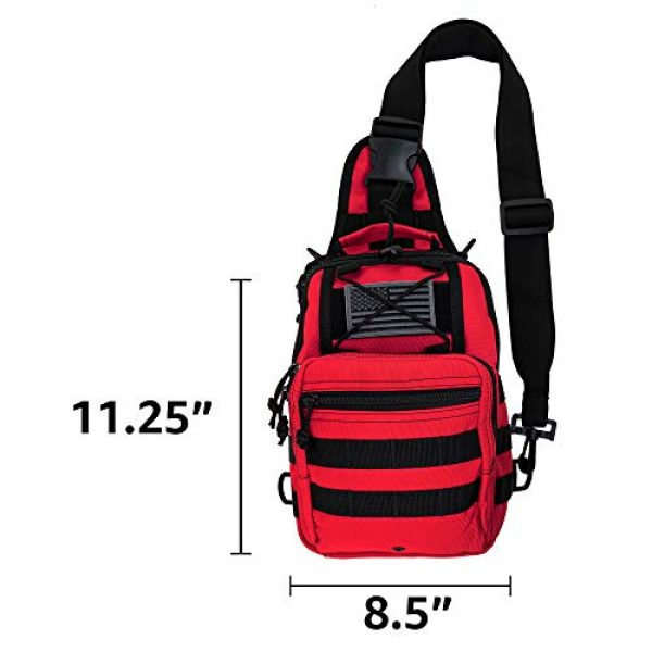 LINE2design Tactical Backpack 5 LINE2design First Aid Sling Backpack - EMS Equipment Emergency Medical Supplies Tactical Range Shoulder Molle Bag - Heavy Duty Sports Outdoor Rescue Pack - Perfect for Camping Hiking Trekking - Red