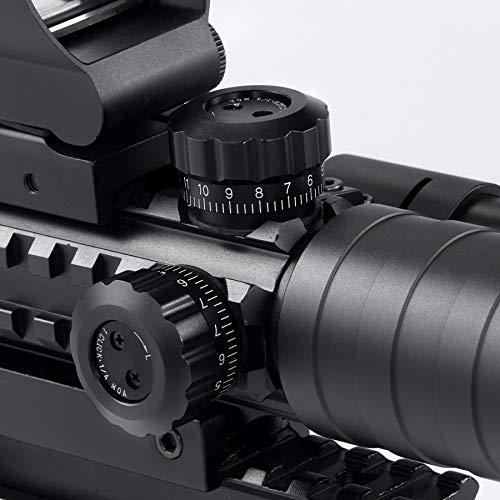 Pinty Rifle Scope 5 Pinty 3-9x32 Rifle Scope Rangefinder Illuminated Reflex Sight 4 Reticle Green Dot Laser Sight, 8 Packs