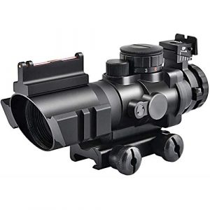 TTHU Rifle Scope 1 TTHU Rifle Scope 4X32 Tactical Rifle Scope Red & Green &Blue Illuminated Reticle Scope with Fiber Optic Sight for Hunting