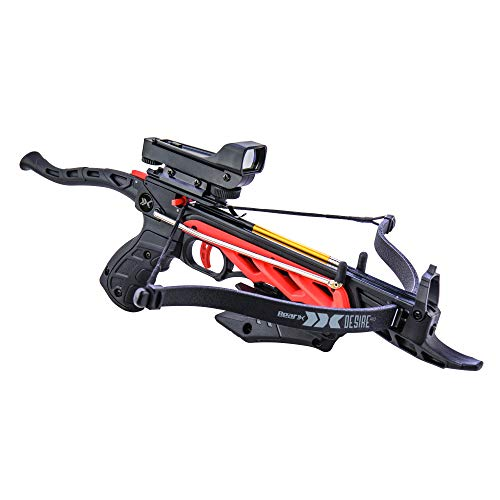 Bear X Crossbow 5 Bear X Desire RD Self-Cocking Pistol Crossbow with Red Dot Sight 3 Premium Bolts, Black, One Size
