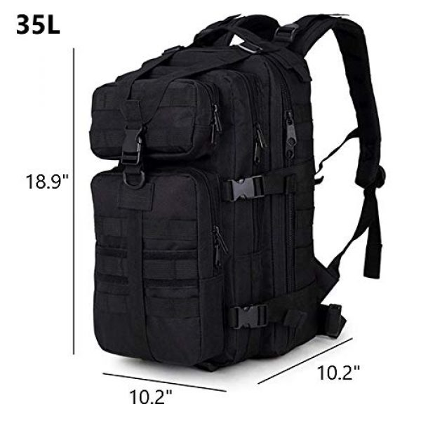 Cadet Gear Tactical Backpack 5 Tactical Assault Pack, Black Military Backpack, Army Survival Molle 35L, 40L