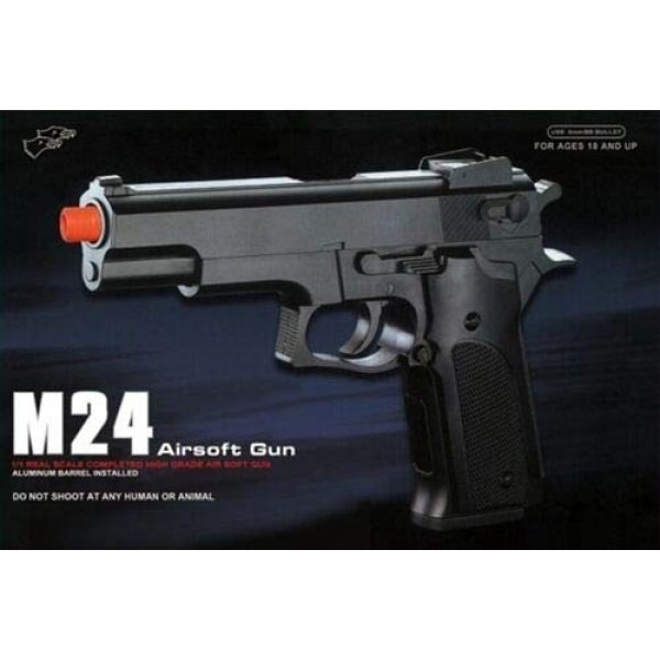 Double Eagle Airsoft Pistol 6 Double Eagle M24 Airsoft Spring Pistol - Powerful 300 FPS Spring Action Airsoft Gun Great Entry Level Airsoft Gun for Fun Fast Clean Inexpensive and Easily maintained