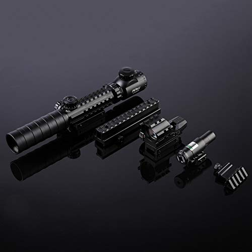 Pinty Rifle Scope 7 Pinty Rifle Scope 3-9x32 Rangefinder Illuminated Optics Red Green Reflex 4 Reticle Sight Green Dot Laser Sight with 14 Slots 1 inch High Riser Mount,45 Degree Mount
