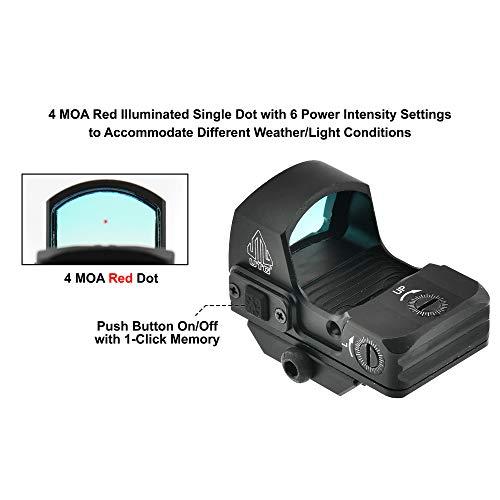 UTG Rifle Scope 4 UTG Reflex Micro Dot, Red 4 MOA Single Dot, Adaptive Base, Black