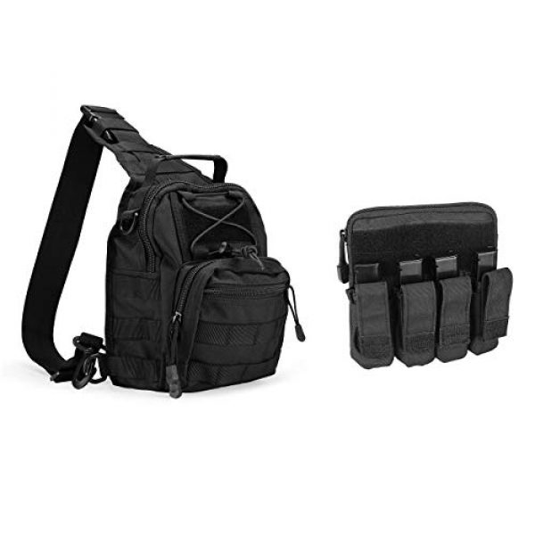 """ProCase Tactical Backpack 2 ProCase Tactical Sling Bag with Pistol Holster Bundle with Tactical Pistol Mag Pouch Molle Pistol Submachine Gun Magazine Bag """"Black"""