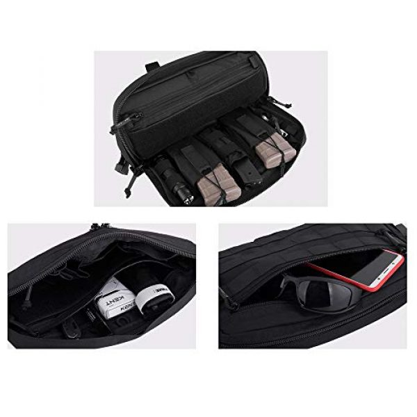 KRYDEX Tactical Backpack 6 KRYDEX Chest Bag Tactical Combat MOLLE Pouch Radio Chest Harness Front Chest Pouch Black