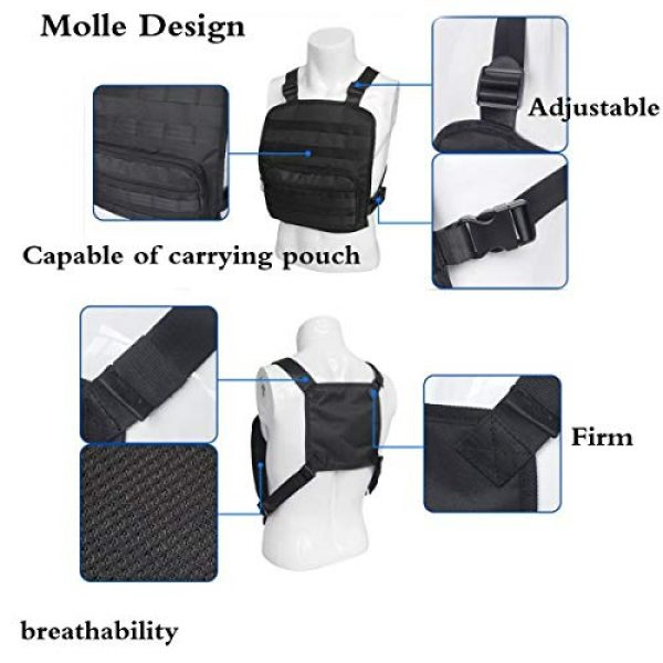 JFFCE Tactical Backpack 3 Tactical Chest Bag Pouch MOLLE Chest Panel Harness Multipurpose EDC Carry Pouch Tactical Chest Rig Black
