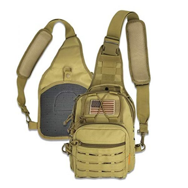 Gearrific Tactical Backpack 2 Tactical Sling Bag + Camping Shovel + G.I.D. Paracord + Flag Patch Combo - Military Day Pack, Small Backpack, Fishing, Hiking, Hunting