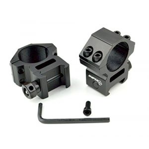 "Sniper Rifle Scope Ring 1 Sniper Heavy Duty Picatinny/Weaver 1"" Mid-Profile See-Thru Scope Rings, Hard Anodized, Black"