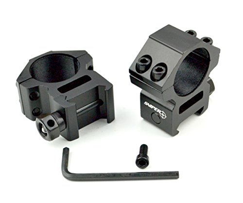 """Sniper Rifle Scope Ring 1 Sniper Heavy Duty Picatinny/Weaver 1"""" Mid-Profile See-Thru Scope Rings, Hard Anodized, Black"""