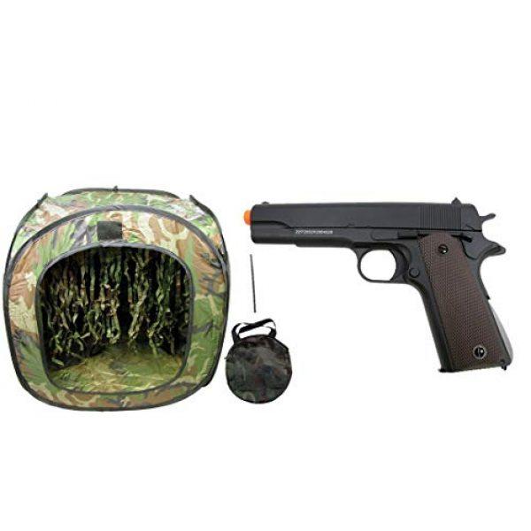 GE / JG Airsoft Pistol 1 GE / JG Full Metal 1911 Spring Powered Airsoft Pistol with Portable Airsoft BB Trap Target Tent Package (Black)