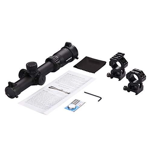 Funpower Rifle Scope 2 Funpower Riflescope 1-6x24 IR 30mm Diameter Outdoor Hunting Scope with 25.4/30mm Scope Mount Rings