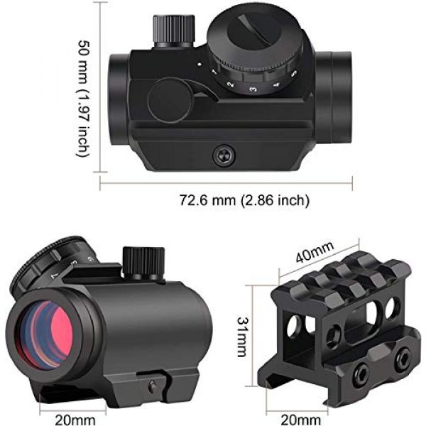 QILU Rifle Scope 2 QILU 1x25mm Tactical Red Dot Sight, 3-4 MOA Thick & Durable Oil Resistant & Waterproof Sturdy Rubber Material Protective Mat for Gun Accessories
