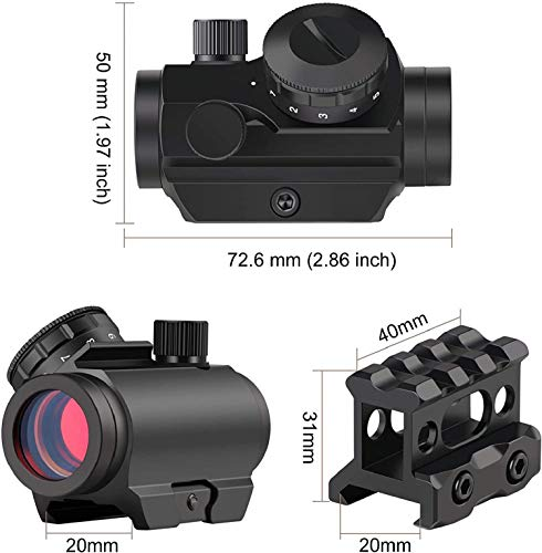 """QILU Rifle Scope 2 QILU 1x25mm 3-4MOARed Dot Sight Optics Scope, with 1 Inch High Mount Compact Red Dot Scope 1"""" Riser Mount for Cowitness with Iron Sights Waterproof and Shockproof"""