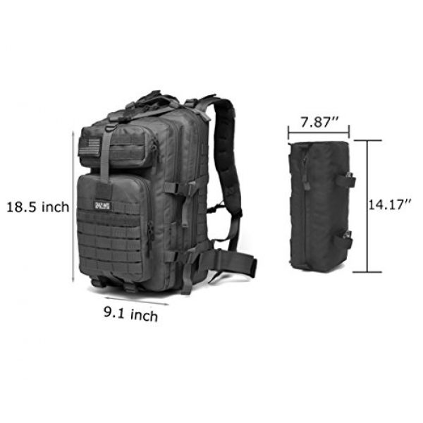 CRAZY ANTS Tactical Backpack 3 CRAZY ANTS Military Tactical Backpack Waterproof Outdoor Gear for Camping Hiking,Black + 2 Detachable Packs