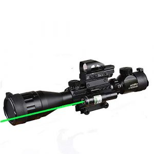 XOPin Rifle Scope 1 XOPin Rifle Scope Combo 4-16x50 Dual Illuminated with Green Laser sight 4 Holographic Reticle Red/Green Dot for Weaver/Rail Mount