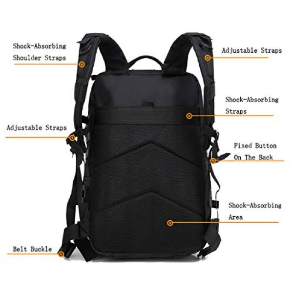 hopopower Tactical Backpack 4 hopopower Military Tactical Backpack Large Army 3 Day Assault Pack Molle Bag Backpack, 42L