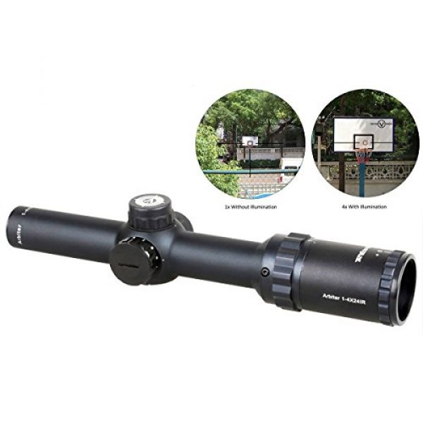 Vector Optics Rifle Scope 2 Vector Optics Arbiter 1-4x24mm 1/2 MOA Compact Tactical Riflescope with Red Dot Illuminated Reticle (Matte Black)
