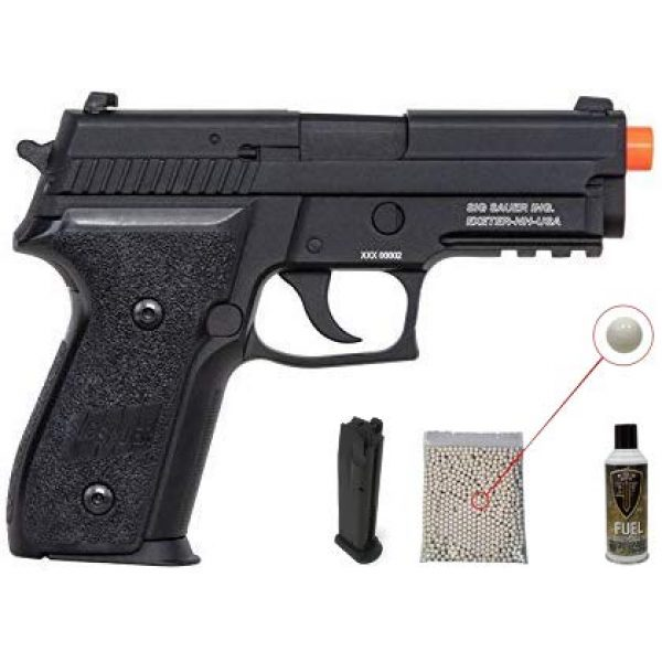 PF Airsoft Pistol 1 PF Sig Sauer ProForce P229 Airsoft Green Gas Black Air Pistol with 13oz Green Gas Tank and Pack of 1000 6mm .20g BBS Bundle