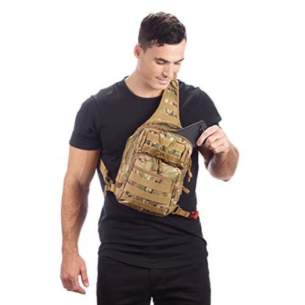 EverTac Tactical Backpack 5 Small Tactical Shoulder Sling Pack w/Molle EDC (CP MultiCam)