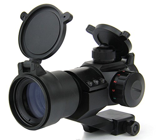 TacFire Rifle Scope 3 TacFire 1 x 30mm Tactical Dot Rifle Scope Sight with Cantilever Weaver Mount, Red/Green