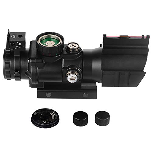 BESTSCOPE Rifle Scope 5 BESTSCOPE Rifle Scope 4x32 Red/Green/Blue Illuminated Quickly Range Reticle Scope with Top Fiber Optic Sight and Weaver Slots