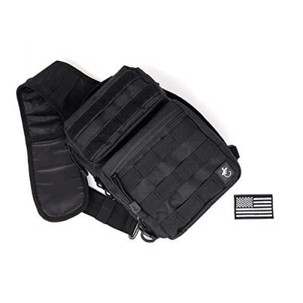 Gecko Equipments Tactical Backpack 3 Gecko Tactical Sling Backpack, Small Military Bag, Free American Flag Patch & Bottle Opener. Molle shooting range shoulder bag.