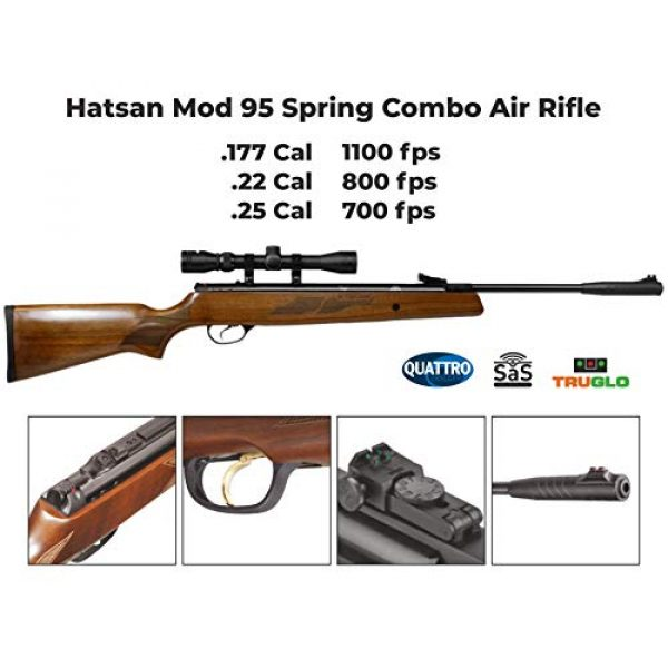 Wearable4U Air Rifle 4 Hatsan Mod 95 Spring Combo Air Rifle with Wearable4U 100x Paper Targets and Lead Pellets Bundle