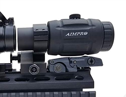 AIMPRO Rifle Scope 7 AIMPRO ALFA Red Dot Sight with Flip to Side Magnifier Combo