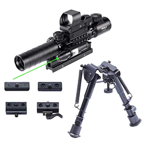 Pinty Rifle Scope 1 Pinty Rifle Scope 3-9x32 Rangefinder Illuminated Reflex Sight 4 Reticle Green Dot Laser Sight & 6 inch to 9 inch Aluminum Rifle Bipod Works with Picatinny MLOK KeyMod and QD Mounting