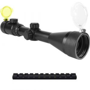 TACBRO Rifle Scope 1 TACBRO Presents A 3-12X50 Dual Ill. 30-mm Scope, Green Lens(Black, Medium) + Scope Rings And Weaver Scope Rail Mounts That Fits Ruger 10/22 Rifles