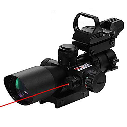 Luger Rifle Scope 1 2.5-10x40 Tactical Rifle Scope - Red Green Illuminated Mildot Range Finder Reticle