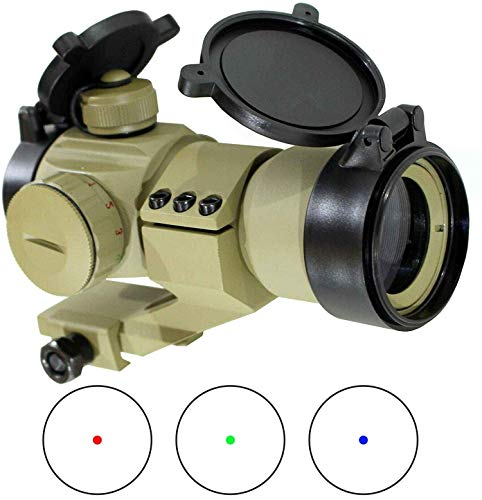 Ahlmanstr Rifle Scope 1 Ahlmanstr Micro Rifle Scope 1x30 Blue Green Red Dot Sight with Cantilever Mount Fits Weaver Rails for Hunting Shooting Range Outdoors Tan Color