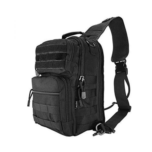 ProCase Tactical Backpack 1 ProCase Tactical Sling Bag Pack with Pistol Holster, Military Rover Sling Shoulder Backpack Outdoor Sport Daypack for Hunting, Trekking and Camping -Black