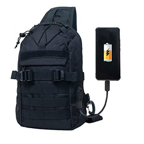 Saigain Tactical Backpack 3 Saigain Men's Tactical Molle Sling Bag Small Chest Shoulder Backpacks With USB Charging Outdoor Casual Hiking Camping (black)