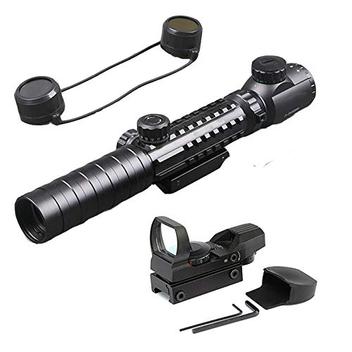Luger Rifle Scope 5 Luger Tactical 3-9X32EG Optical Dual Red Green Illuminated Crosshair Range Finder Rifle Scope with Red Green Reflex 4 Reticles Sight