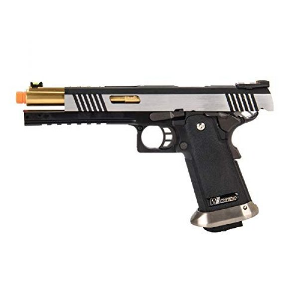 """Lancer Tactical Airsoft Pistol 5 Lancer Tactical WE-Tech Hi-Capa 6"""" IREX Competition Full Auto Gas Blowback Airsoft Pistol Black Silver Gold Barrel"""