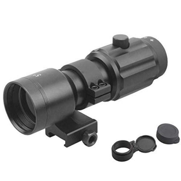 Vector Optics Rifle Scope 1 Vector Optics 3X, 4X, 5X Tactical Maginifier with Flip-to-Side Detach Quick Release QD Picatinny Mount and Flip-up Scope Lens Cover for Red Dot Reflex Sight (Matte Black) (3X) (5X)