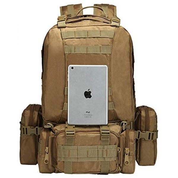 Suoki Tactical Backpack 2 Tactical Backpack 55L with Built-up 3 MOLLE Bags Rucksacks for Travelling