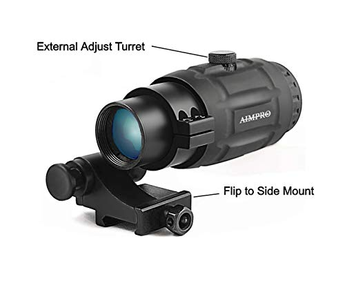 AIMPRO Rifle Scope 5 AIMPRO ALFA Red Dot Sight with Flip to Side Magnifier Combo