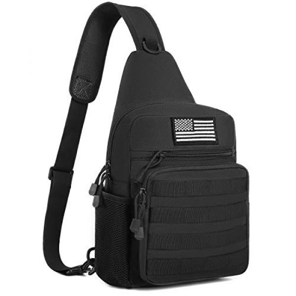 MOSISO Tactical Backpack 1 MOSISO Tactical Sling Backpack, Small Chest Shoulder Bag Military Army Assault Molle Rucksack for Outdoor Sports Hiking Hunting Fishing Camping Training with USA Flag Patch & Side Bottle Holder, Black