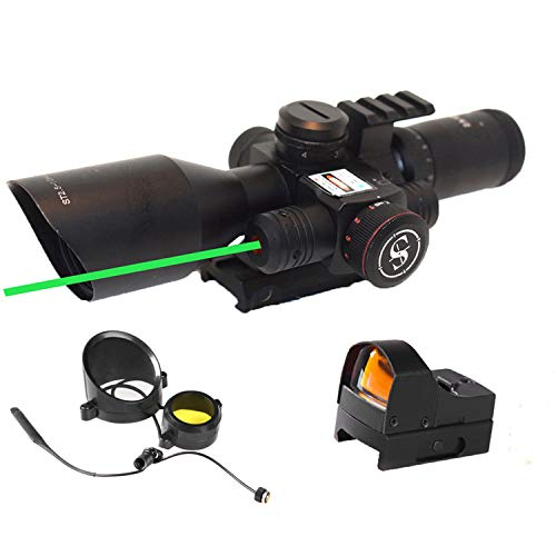 Sniper Rifle Scope 1 Sniper ST2.5-10x40 Rifle Scope Combo with Green Laser R/G Illuminated Reticle Red Dot Sight