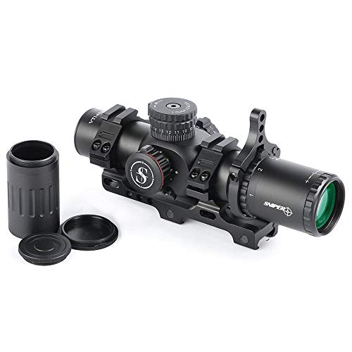 Sniper Rifle Scope 1 Sniper VT 1-6X28 FFP First Focal Plane (FFP) CQB Scope 35mm Tube ED Optics System with Red/Green Illuminated Reticle Fit .223 5.56