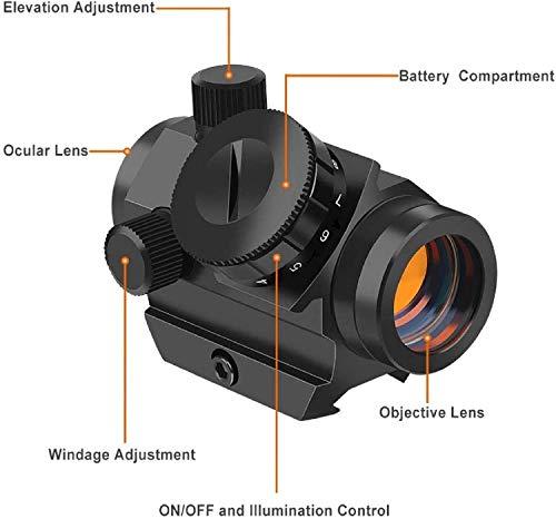 QILU Rifle Scope 4 QILU 1x25mm Tactical Red Dot Sight | 3-4 MOA Compact Red Dot Scope | Reflex Rifle Optic with 11 Adjustable Brightness Settings | Reddot Gun Scope with 1 Inch Riser Mount