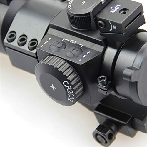 AJDGL Rifle Scope 5 AJDGL 1X30mm Tactical Red Dot Sight Scope- Rapid Ranging Reticle Fiber Optic Front Sight with Picatinny Rails for Rifle Hunting
